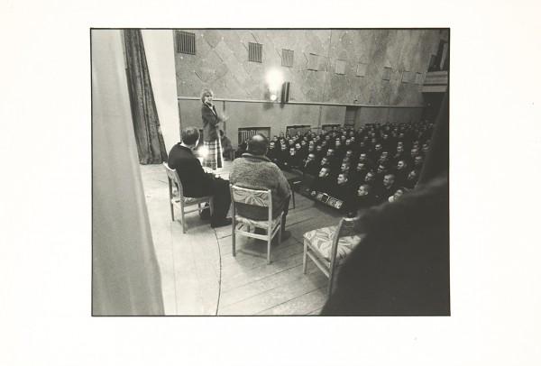 Лот из двух фотографий выступления Людмилы Гурченко, Олега Басилашвили и Эльдара Рязанова в колонии, во время съемок фильма «Вокзал для двоих». [Новое Гришино, 1982].