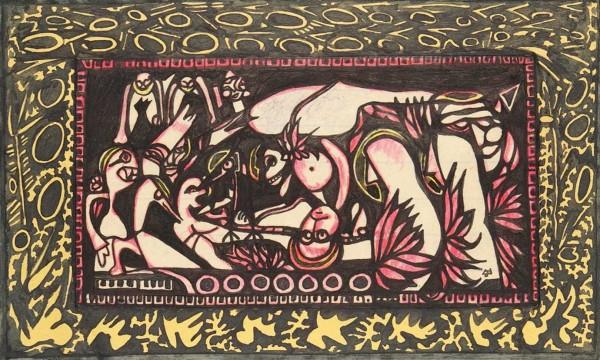Рукопись сказки Алексея Михайловича Ремизова «Тулумбас» с приложением письма, касающегося ее продажи, двадцати акварелей и коллажей. Париж, 1935-1936. 7 листов рукописного текста, 20 листов иллюстраций, 20 листов машинописи.