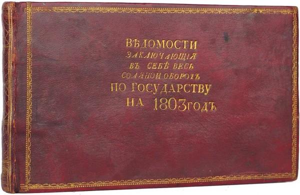 Ведомости, заключающие в себе весь соляной оборот по государству на 1803 год [рукописная книга бухгалтера Василия Дудвинцева].