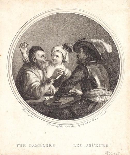 Скородумов Гавриил Иванович (1754–1792) с живописного оригинала Дирка ван Бабюрена (около 1595 - 1624) «Игроки». 1778. Бумага, пунктир, карандашная манера, 22 х 19 см (лист, обрезан по доске).