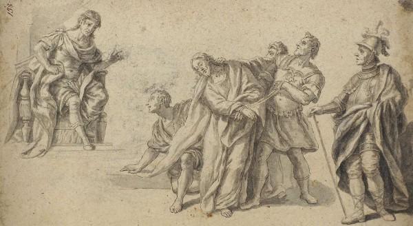 Неизвестный русский художник «Христос перед Понтием Пилатом». На обороте «Монах перед распятием». 1790-е. Бумага, тушь, перо, кисть, 24,3 х 44 см.