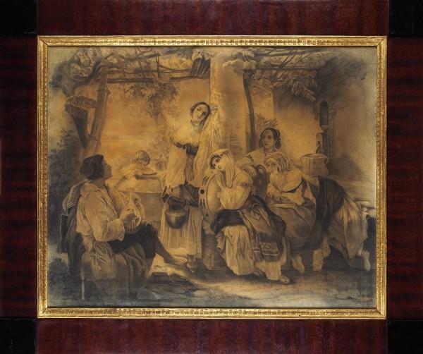Неизвестные русские художники «Сцена у источника». 1848. Бумага на холсте, уголь, 54 х 70 см.