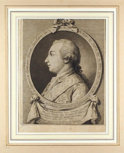 Шмидт (Schmidt) Георг Фридрих (1712-1775) сживописного оригинала Лагрене Луи-Жана-Франсуа (1724-1805) «Портрет Ивана Ивановича Шувалова». 1762. Бумага, офорт.25,5x20,5см (лист), 21x16,5см (оттиск).