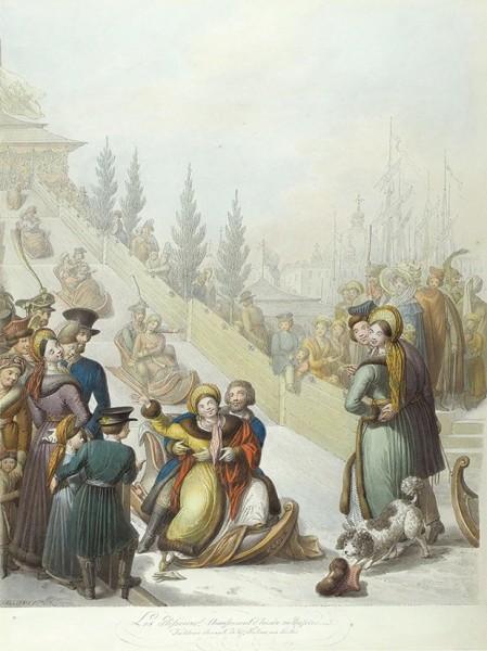 Опиц Георг Эмануэль (1775–1841) «Русские катания следяных гор». 1810-е-1820-е. Бумага, акварель, графитный карандаш, 49x38см.