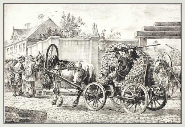 «Извозчик свозом дров». Порисунку А.О. Орловского. 1820-е. Бумага, литография, 36,5x54,5см (лист, обрезан поизображению).
