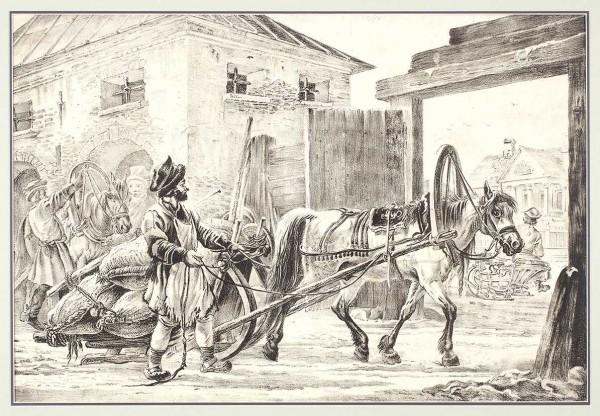 «Извозчик свозом овса уамбара». Порисунку А.О. Орловского. 1820-е. Бумага, литография, 36,8x54,5см (лист, обрезан поизображению).