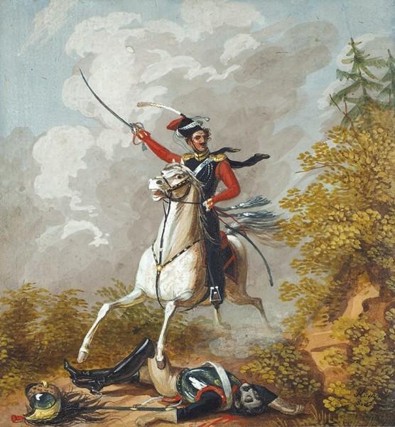 Гампельн (Gampeln) Карл Карлович (1794–1880) «Атака казака». 1810-е. Картон, гуашь, 11x10см.