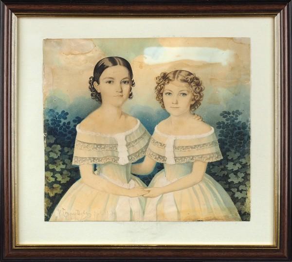 Гампельн (Gampeln) Карл Карлович (1794–1880) «Портрет двух девочек». 1820-е-1830-е. Картон, графитный карандаш, акварель, белила, 20,5x23,2см.