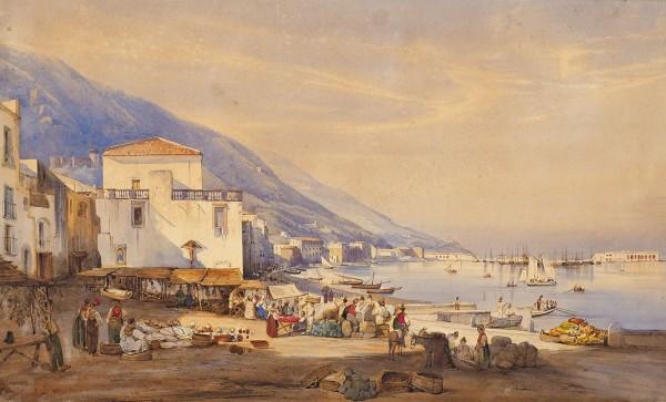 Джиганте (Gigante) Джачинто (1806— 1876) «Вид Неаполя». 1835. Бумага накартоне, акварель, 27x44,7см.