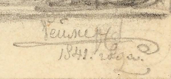 Реймерс Иван Иванович (1818–1868) «Семейная сцена». 1841. Бумага, графитный карандаш, 17x22см.