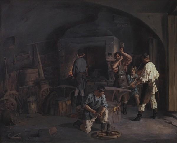 Плахов Лавр Кузьмич (1810–1881) «Вкузнице». 1840-е. Холст, масло, 74x87,5см.