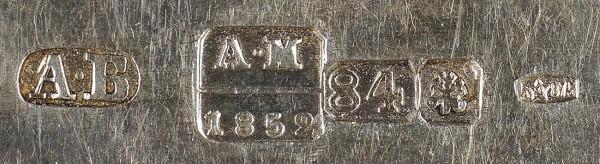 Набор столовых приборов графа А.А. Суворова-Рымникского. Пять ножей, пять вилок ипять ложек. СПБ. Мастерская А. Кордеса. 1849-1852. Серебро, литьё. Нож20,3см, ложка 18,5см, вилка 17,5см.