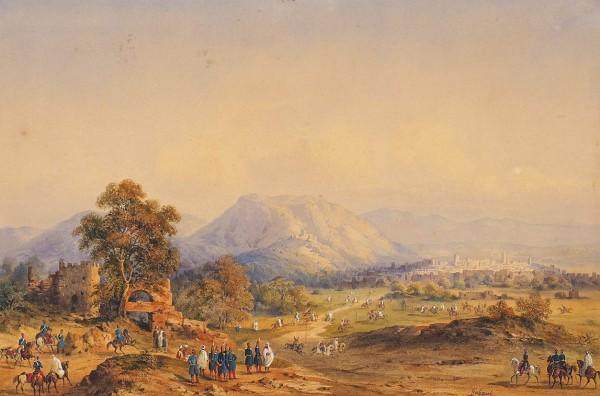 Гобо (Gobaut) Гаспар (1814–1882) «Эпизод изпокорения французами Северной Африки». 1840-е-1850-е. Бумага накартоне, акварель, белила, 27x41,3см.