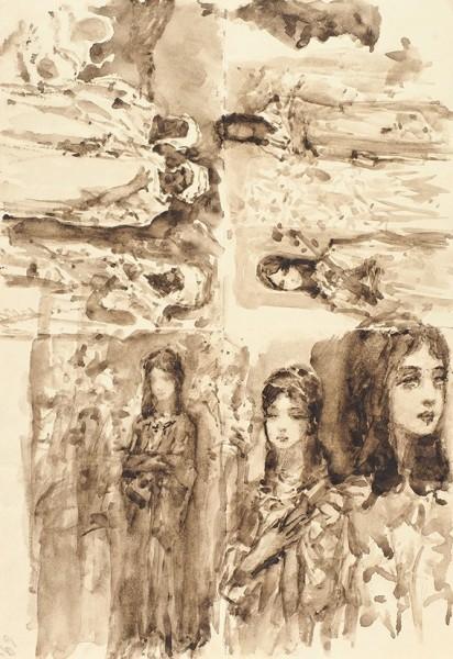 Котарбинский Василий (Вильгельм) Александрович (1849— 1921) «Послушницы». Наобороте «Явление ангела». 1890-е-1900-е. Бумага, сепия, кисть, 23x15,9см.