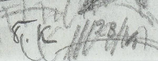 Кустодиев Борис Михайлович (1878–1927) «Пейзаж скоровами». 1910-е-1920-е. Бумага, графитный карандаш, 21x28см (всвету).
