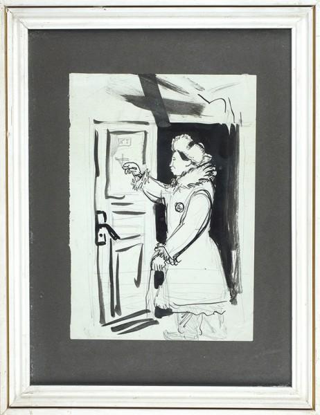 Чекрыгин Василий Николаевич (1897-1922) «Перед дверью». Конец 1910-х-начало 1920-х. Бумага, графитный карандаш, тушь, кисть, 24,5x17см.