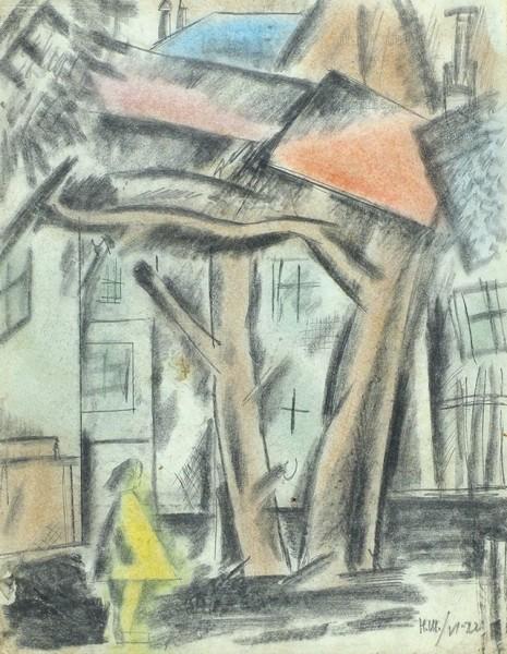Шифрин Ниссон Абрамович (1892–1961) «Городской пейзаж сфигурой девочки». 1922. Бумага накартоне, свинцовый ицветные карандаши, 28,5x22,5см.