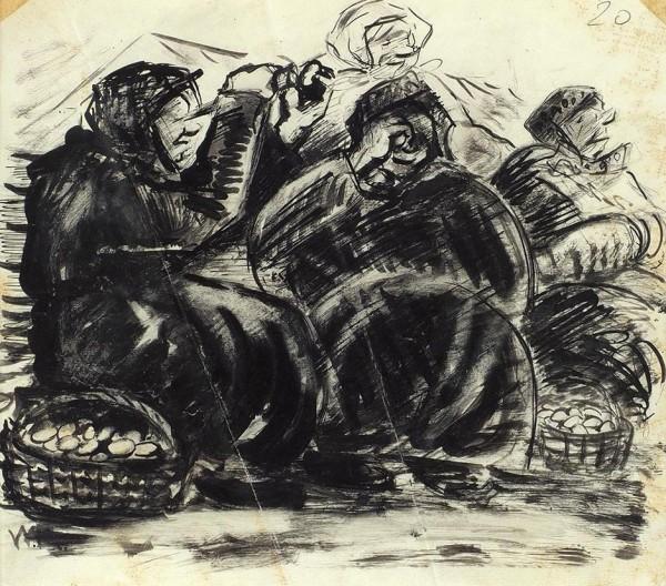 Бехтеев Владимир Георгиевич (1878— 1971) «Набазаре. Торговки». 1920-е. Бумага, тушь, перо, сухая кисть, 23,9x27см.