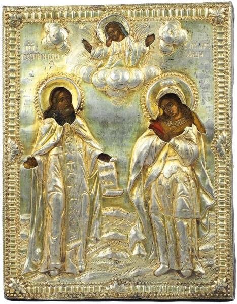 Икона «Св. Макарий и Св. мученица Александра» в окладе. Россия. 1800-е. Дерево, масло; серебро, золочение, чеканка, гравировка, 21,3 х 16,5 см.