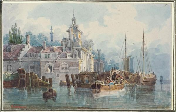 Кольман Карл Иванович (1786–1846) «Лодки у берега». 1820-е-первая половина 1840-х. Бумага, графитный карандаш, акварель, темпера, лак, 7,2 х 11,4 см.