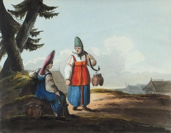 Кольман Карл Иванович (Kollman Karl) (1786-1846) «Водоноски». Из серии «Русские типы». Первая треть XIX века. Бумага, акварель, 16,5 х 21 см.