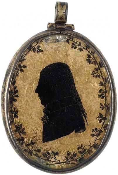 «Миниатюрный портрет кавалера Ордена Св. Анны II степени». 1790-е. Эгломизе, серебро, золочение, 4 х 3,5 см (овал).