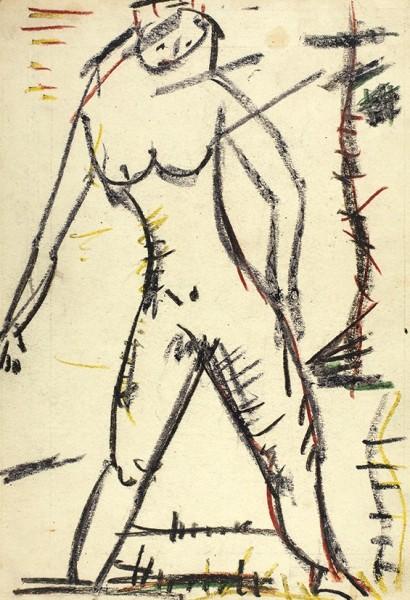 Ворошилов Игорь Васильевич (1939–1989) «Обнаженная». 1970. Бумага, масляная пастель, 31 х 21,4 см.