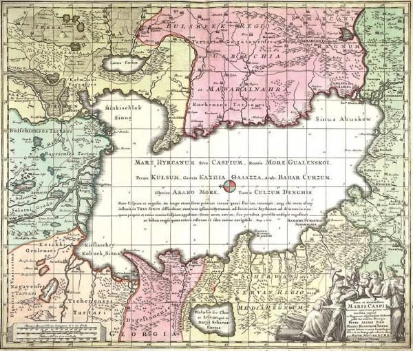 Карта Каспийского моря / картограф Георг Матиас Зойтер, худ. Август Виндель. Аугсбург, 1730-1740-е гг.