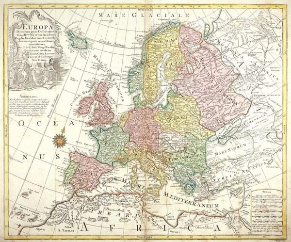 Гравированная карта Европы / составлена Лоттером по картам Гийома Делиля, худ. Август Виндель . 1760-е гг. (?)