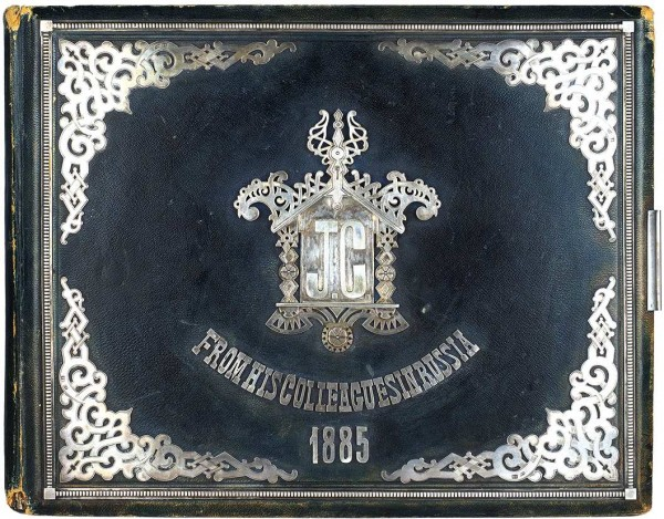 Роскошный подносной альбом, подаренный российскими коллегами инженеру компании American Bell Telephone Джону Кроуфорду, организовавшему телефонное сообщение в Российской Империи. 1885.