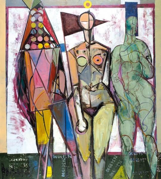 Михаил Багларидис «Три грации». 2010. Оргалит, масло. 100 х 90 см. Частное собрание.