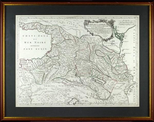Карта Грузии и других стран, расположенных между Черным и Каспийским морями, включая Армению, Абхазию, Северный Кавказ и Азербайджан / картограф Паоло Сантини. Венеция, 1775.