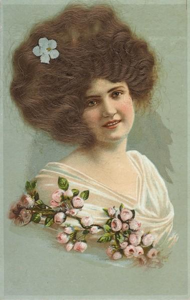 Лот из 4 открыток «Женские головки», с накладными волосами. Германия, [1900-е гг.].