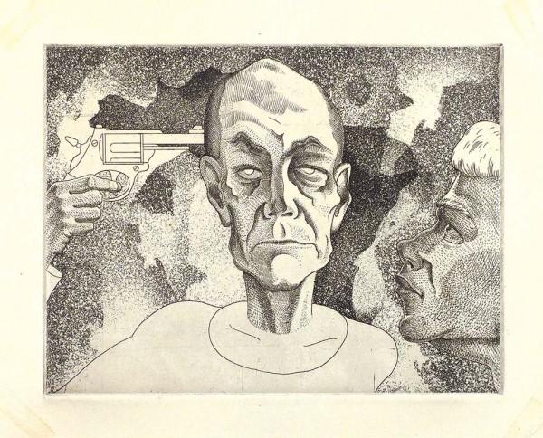 Кропивницкий Лев Евгеньевич (1922 — 1994) Иллюстрация к произведению Ю. Мамлеева. Конец 1960-х. Бумага, офорт, 16 х 20,7 см (лист), 15,7 х 20,5 см (оттиск).