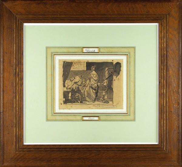 Брюллов Карл Павлович (1799—1852) «Юдифь и Олоферн». 1823. Бумага, сепия, перо, кисть, 18,2 х 23,5 см.