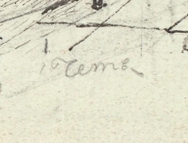 Чернецов Поликарп Григорьевич (1823—1845) «Мастерская». 1842. Бумага, графитный карандаш, тушь, перо, 19,3 х 24 см.