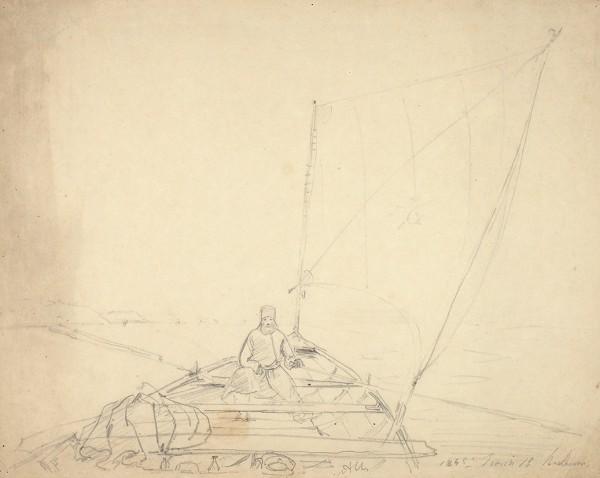 Чернецов Поликарп Григорьевич (1823—1845) «На реке». 1845. Бумага, графитный карандаш, 22 х 27,7 см.