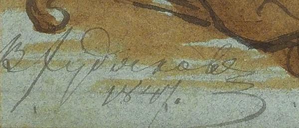 Худяков Василий Григорьевич (1826-1871) «Библейский сюжет». 1847. Бумага голубая, графитный карандаш, тушь, перо, сепия, белила, 28,5 х 18,5 см (в свету).