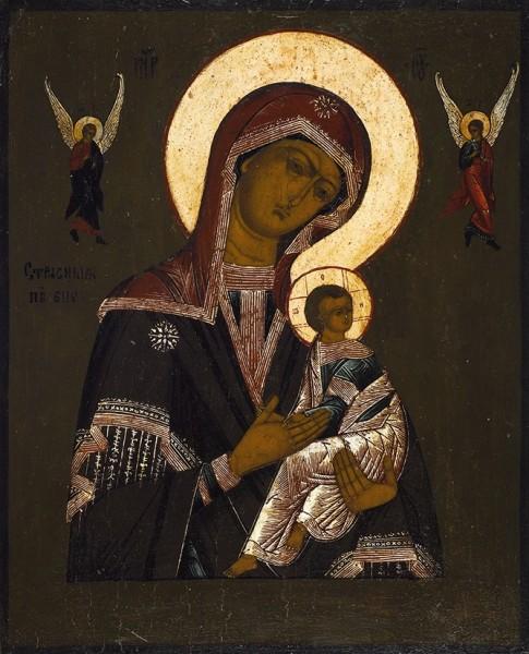 Икона «Божья Матерь Страстная». Середина XIX века. Доска, масло, 31,5 х 25,5 см.