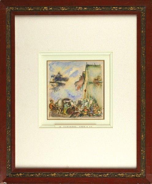 Сапунов Николай Николаевич (1880–1912) «Веселая компания». 1900-е. Бумага, акварель, графитный карандаш, 14,5 х 13,8 см.