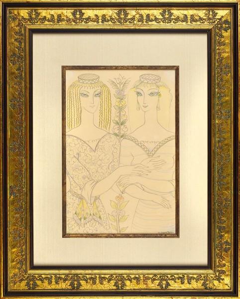 Гудиашвили Ладо (Владимир) Давидович (1896—1980) «Подруги». 1974. Бумага, графитный и цветные карандаши, 37 х 24,5 см.