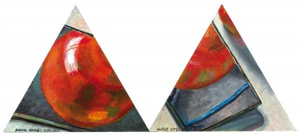 Котел Нина «Красный шарик». Диптих. 2016. Холст на картоне, масло. 35 х 40 см каждая.