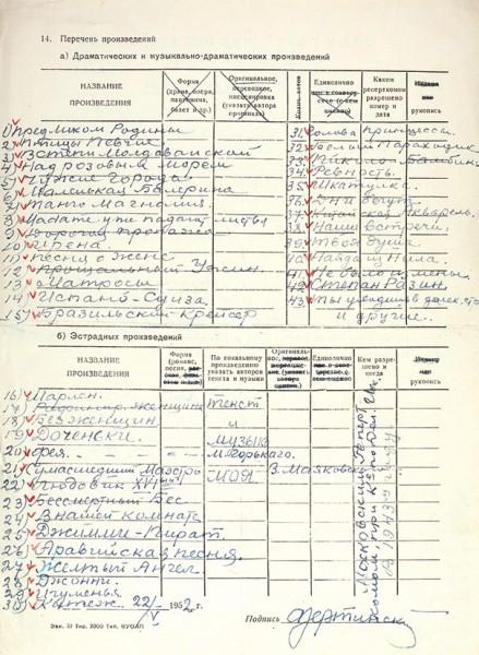 Учетный листок автора Союза писателей СССР, собственноручно заполненный А.Н. Вертинским. 22 мая 1952.