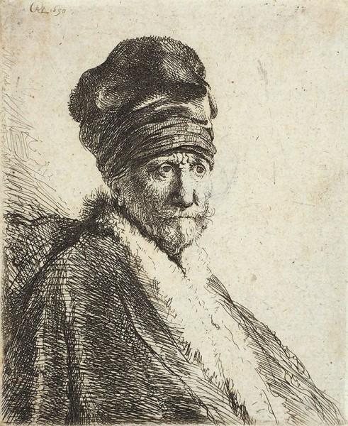 Рембрандт (Rembrandt) Харменс ван Рейн (1606-1609) «Мужчина в высокой шляпе: портрет отца художника (?)». 1630 (оттиск конца XVII - XVIII веков). Бумага, офорт, 10,5 х 8,5 см (лист, обрезан по оттиску).