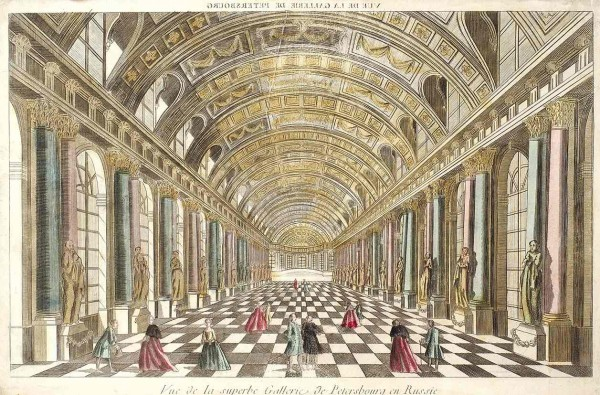 Шеро (Shereau) Жак-Франсуа (1742—1794) «Вид галереи в Санкт-Петербурге». 1750-е — 1780-е. Бумага, резец, акварель, 30 х 46,3 см (лист, обрезан).