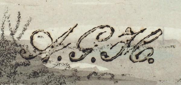 Убиган (Houbigant) Арман Густав (1790—1863) «Возок». Лист № 8 из сюиты: «Moeur et costumes des Russen» Paris. 1817. Бумага, литография, акварель, 27, 5 х 42, 5 см.