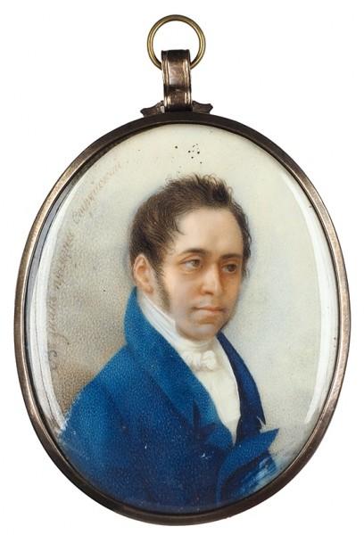 Неизвестный художник «Струйский». 1810-е. Кость, гуашь, акварель, 6,7 х 5,5 см.