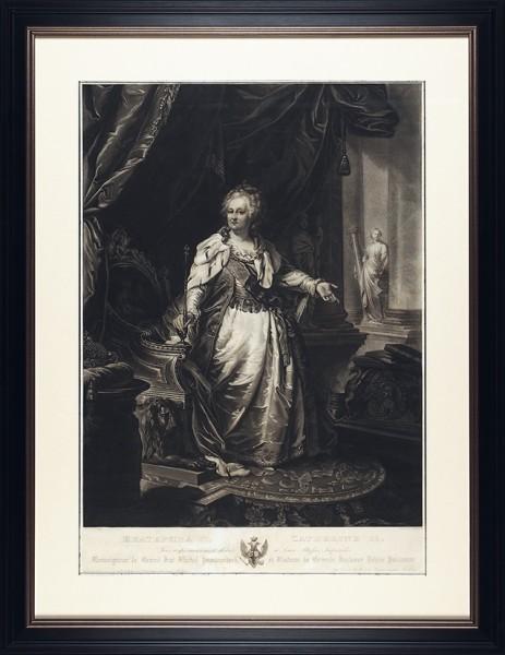 Сиксденьер (Sixdeniers) Александр Венсан (1795-1846) с оригинала Лампи-старшего Иоганна Баптиста (1751-1830) «Императрица Екатерина Великая». 1830-е. Бумага, меццо-тинто, 71 х 50 см (в свету).