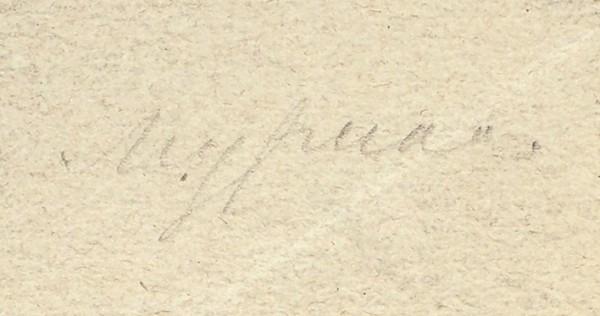 Михайлов Е. «Крестьянский дом в усадьбе графов Воронцовых». 1872. Бумага, графитный карандаш, 14,7 х 19,9 см.