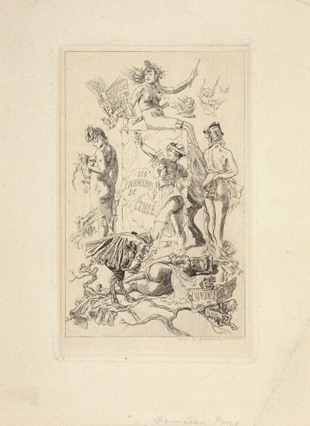Ропс (Rops) Фелисьен (1833-1898) «Les Chansons de colle». Последняя треть XIX века. Бумага, офорт, 19 х 14 см (лист), 13,5 х 8,5 см (оттиск).